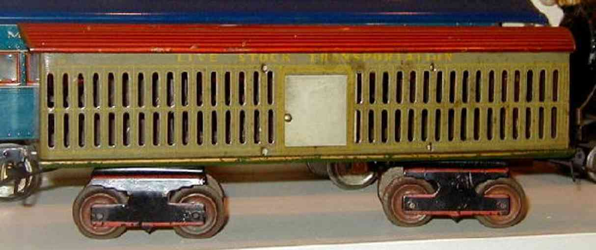 ives 74 railway toy cattle car variation in pale green color. late car with no t