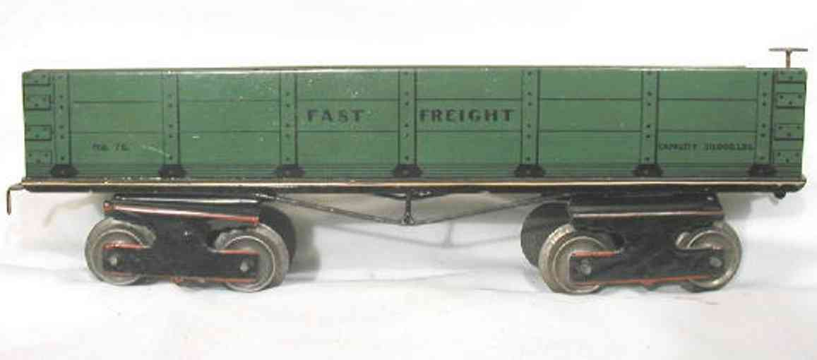 ives 76 railway toy freight car lithographed in dark green. the first freight ca