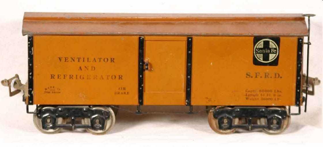 ives 192 1924 spielzeug eisenbahn kuehlwagen hellbraun wide standard gauge