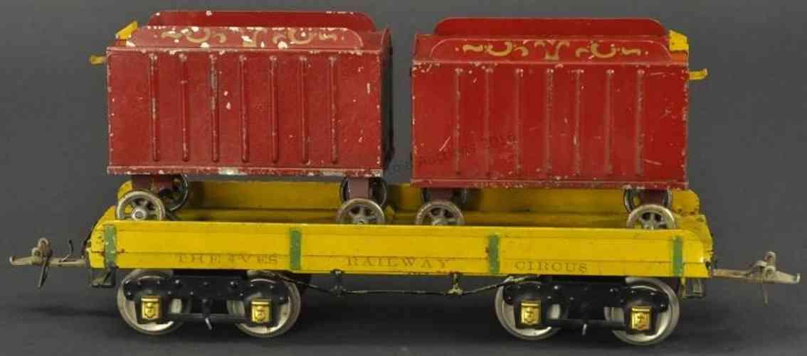 ives spielzeug eisenbahn flachwagen zirkus zwei wagen gelb rot