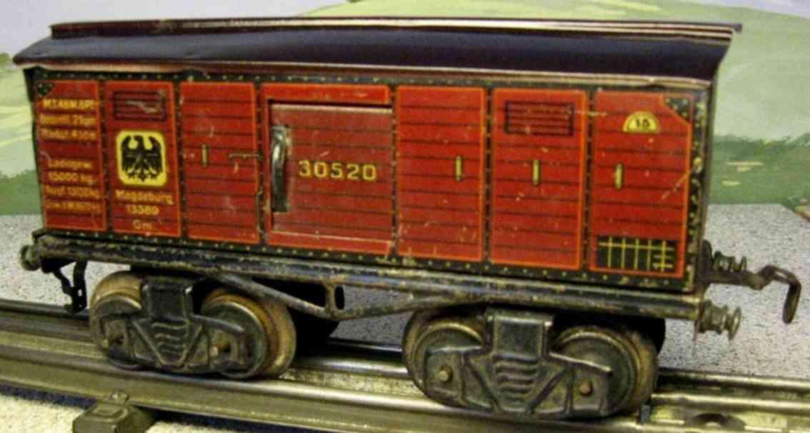 kraus-fandor 1301 spielzeug eisenbahn gedeckter gueterwagen rotbraun spur 0