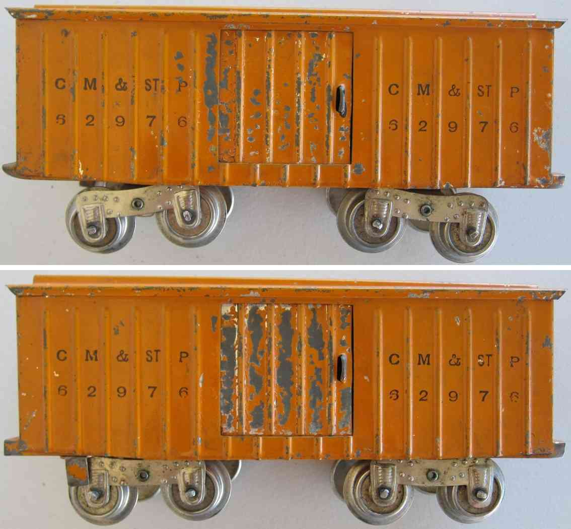 lionel 114 62976 spielzeug eisenbahn gedeckter gueterwagen in gelb-orange standard gauge