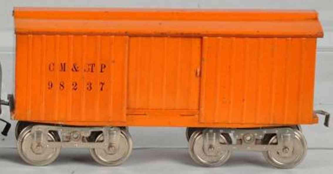 lionel 14 spielzeug gedeckter gueterwagen orange standard gauge