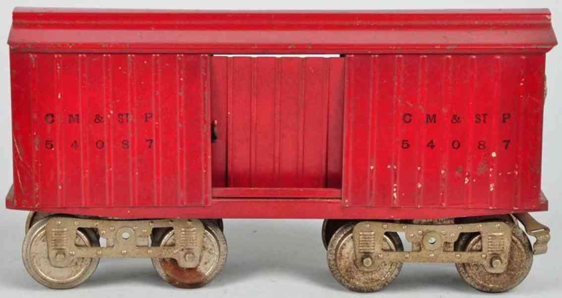 lionel 14  geschlossener güterwagen dunkelrot cm st p 54087 standard gauge