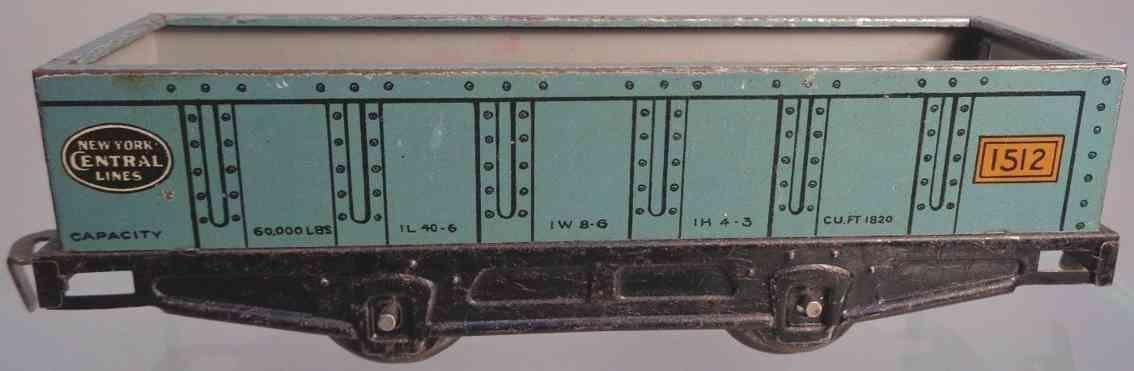 lionel 1512 spielzeug eisenbahn offener gueterwagen hellblau spur 0