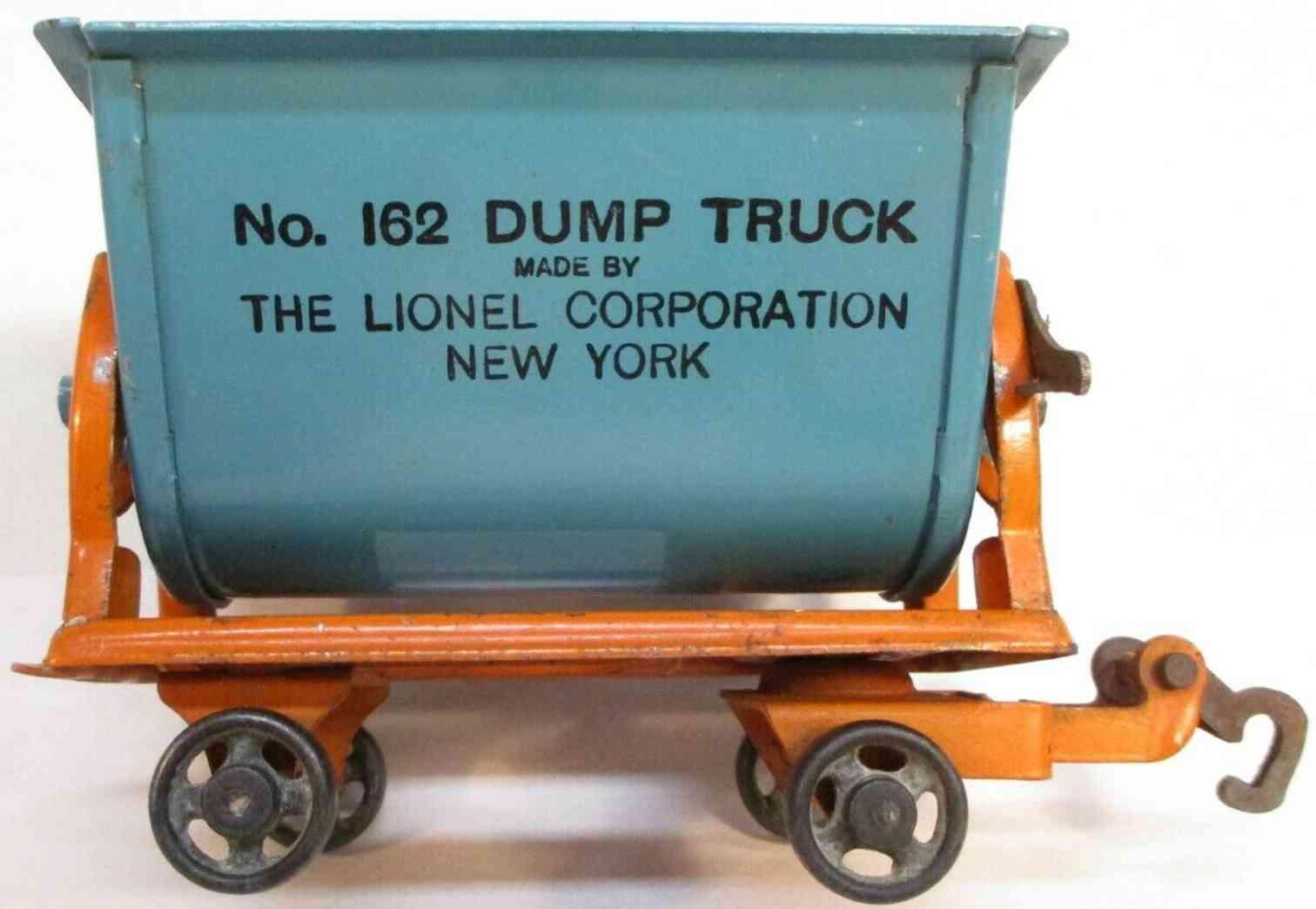 lionel 162 type II railway toy dump truck orange blue standard gauge