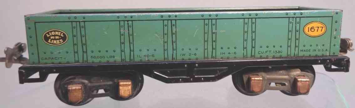 lionel 1677 railway toy gondola car peacock copper journal boxes gauge 0