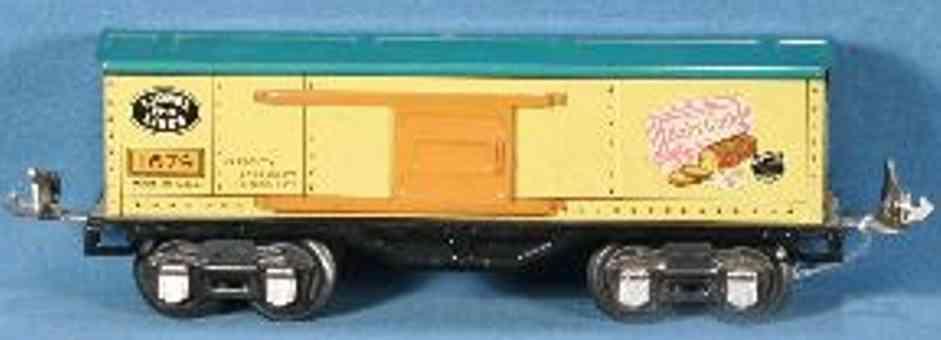 lionel 1679( type IV) spielzeug eisenbahn gueterwagen orange blau spur 0
