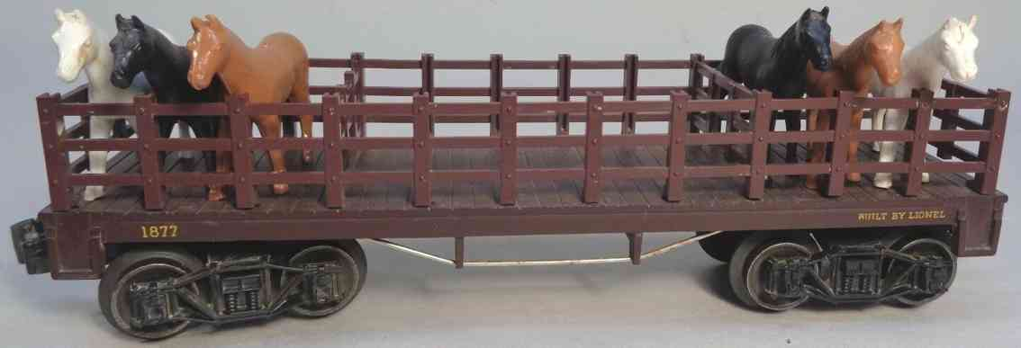 lionel 1877 railway toy flat car maroon with eight horses gauge 0
