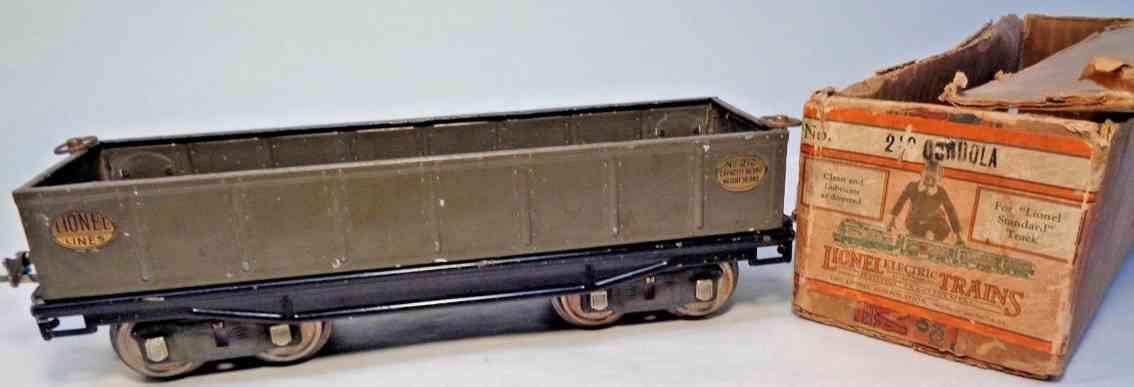 lionel 212 spielzeug eisenbahn offener gueterwagen grau standard gauge