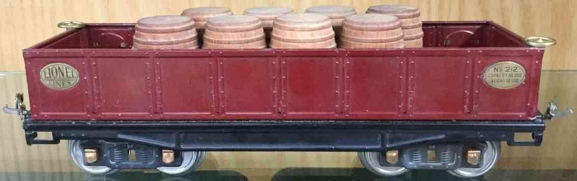 lionel 212 spielzeug eisenbahn offener gueterwagen braun standard gauge