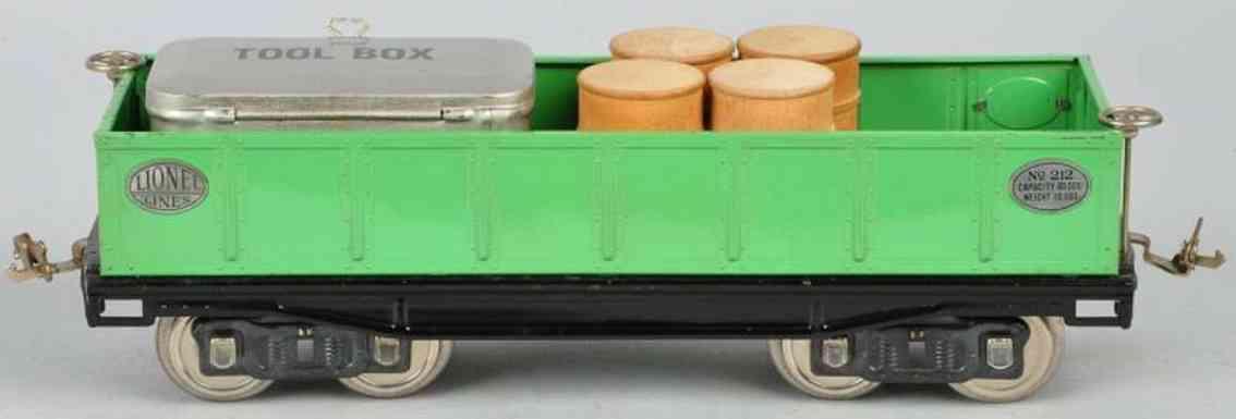 lionel 212 spielzeug eisenbahn offener gueterwagen gruen standard gauge