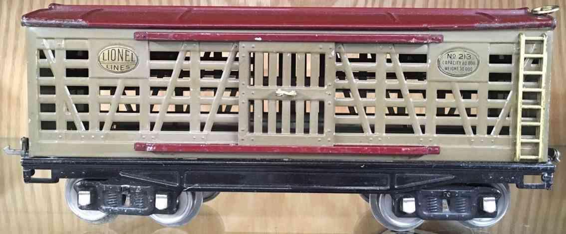lionel 213 eisenbahn viehwagen sandfarben braun standard gauge