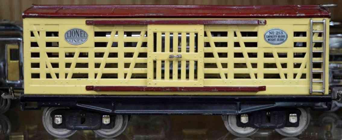 lionel 213 eisenbahn viehwagen creme kastanienbraun standard gauge
