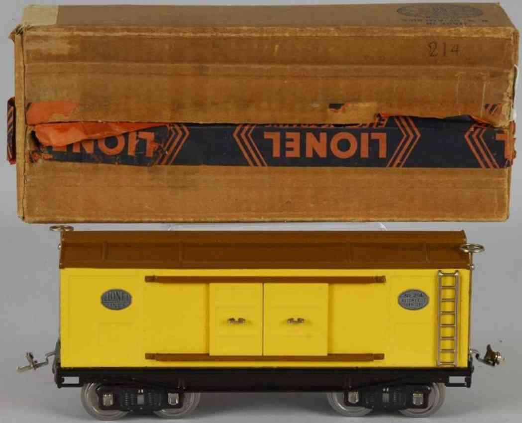lionel 214 spielzeug eisenbahn gedeckter gueterwagen gelb braun standard gauge