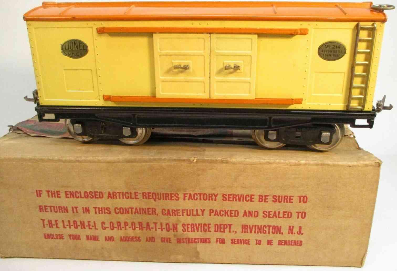 lionel 214 eisenbahn gedeckter gueterwagen creme orangen standard gauge