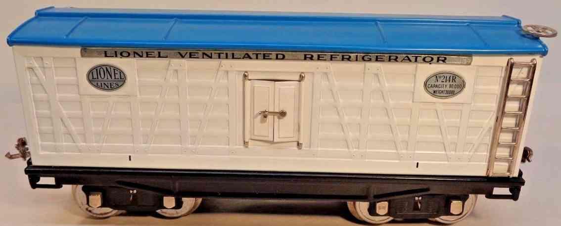 lionel 214r spielzeug eisenbahn kuehlwagen weiss blau aluminium standard gauge