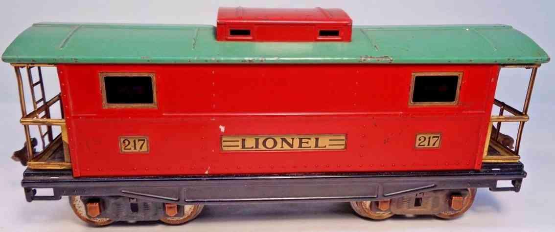 lionel 217 eisenbahn caboose pfeuenblau rot standard gauge