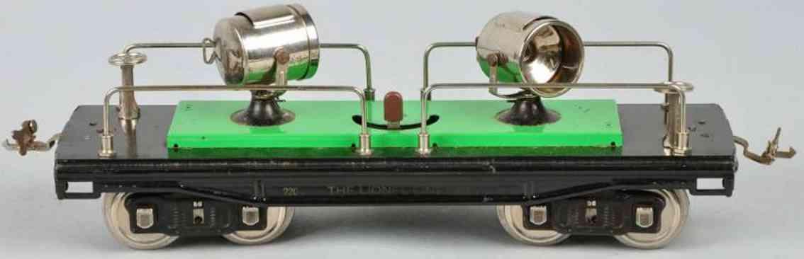 lionel 220 III scheinwerferwagen gruen standard gauge
