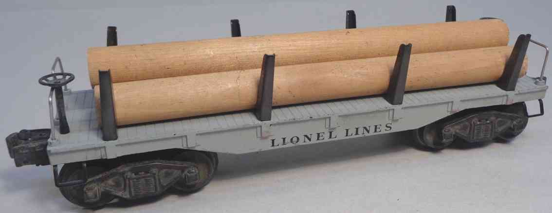 lionel 2411 spielzeug eisenbahn flachwagen drei rohre grau druckguss spur 0