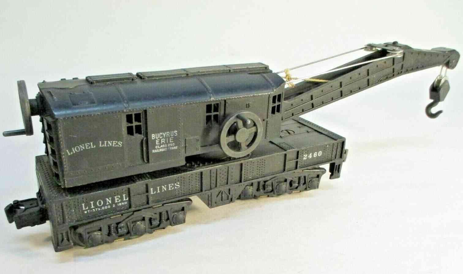 lionel 2460 railway toy bucyrus erie crane car with 12 wheels black gauge 0