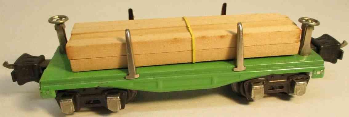 lionel 2651 type I spielzeug eisenbahn güterwagen #2651.1; 4-achsig; aus blech in grün mit 8 vernic