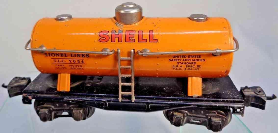 lionel 2654 railway toy shell tank car in orange gauge 0