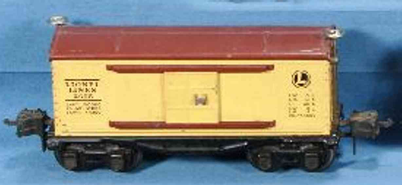 lionel 2655 spielzeug eisenbahn gedeckter gueterwagen gelb toskan schwarz spur 0