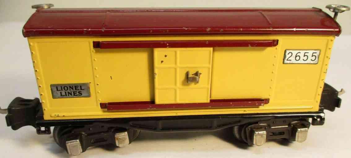 lionel 2655 spielzeug eisenbahn gedeckter gueterwagen gelb braun nickel spur 0