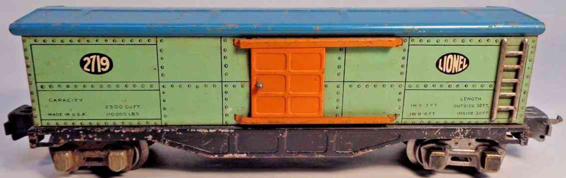 lionel 2719 railway toy box car peacock orange blue gauge 0