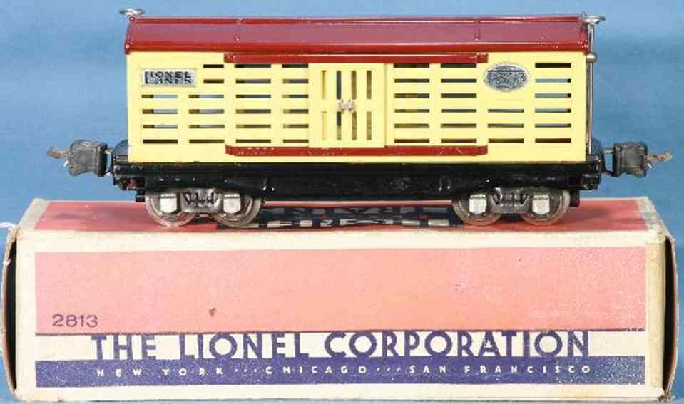 lionel 2813/I gueterwagen mit elektromagnetkupplungen in cremefarben braun spur 0