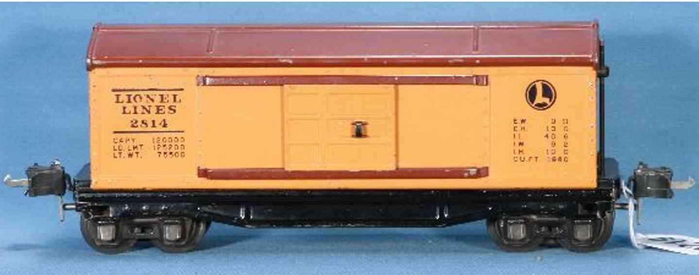 lionel 2814 spielzeug eisenbahn gedeckter gueterwagen mit orange und braun spur 0