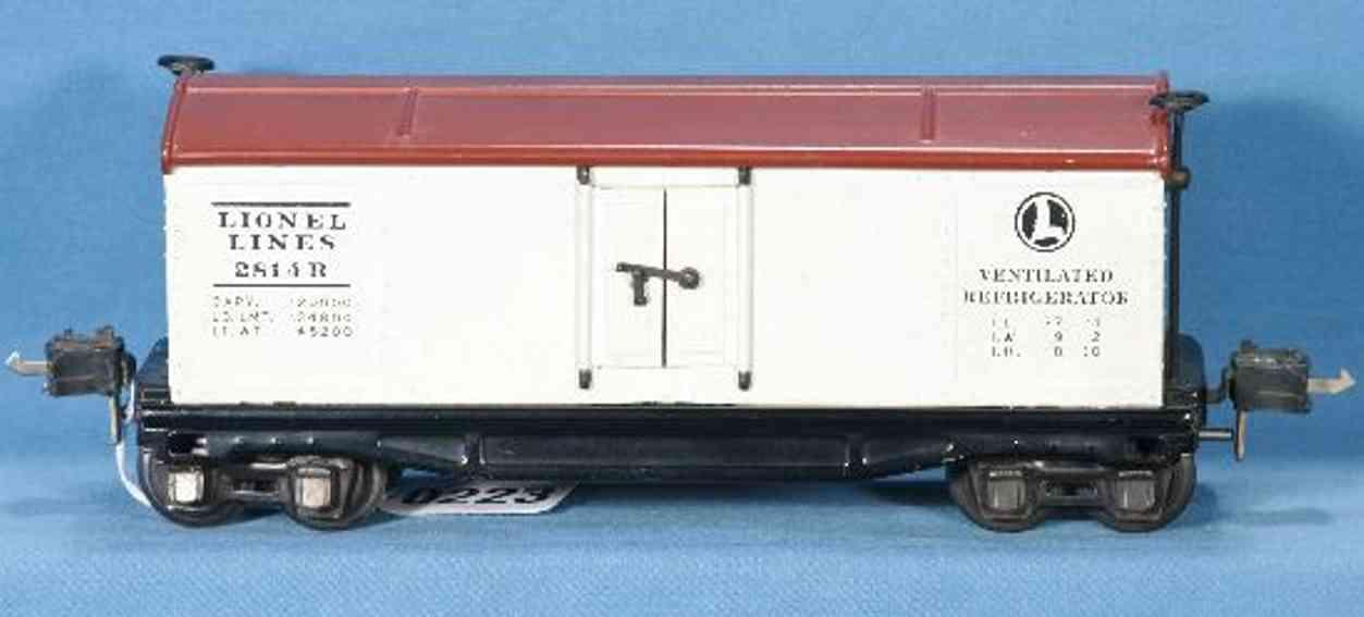 lionel 2814R spielzeug eisenbahn kuehlwagen in weiss braunes dach spur 0