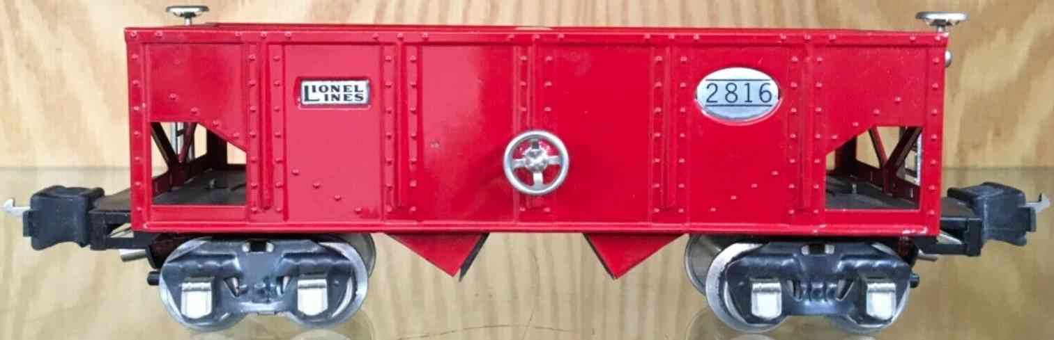 lionel 2816 schuettgutwagen rot nickel elektromagnetischen Kupplungen spur 0