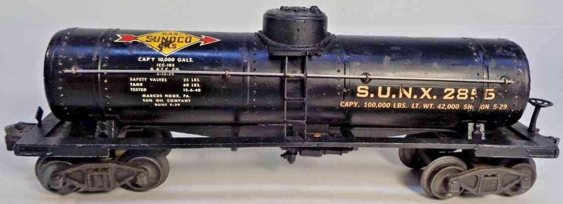 lionel 2855 railway toy tank car black gray sunoco gauge 0