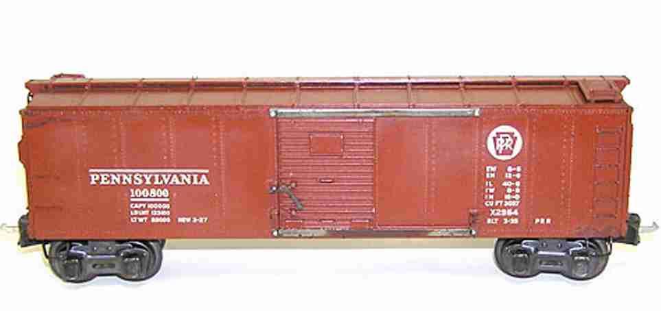 lionel 2954 geschlossener gueterwagen  pennsylvanie prr spur 0
