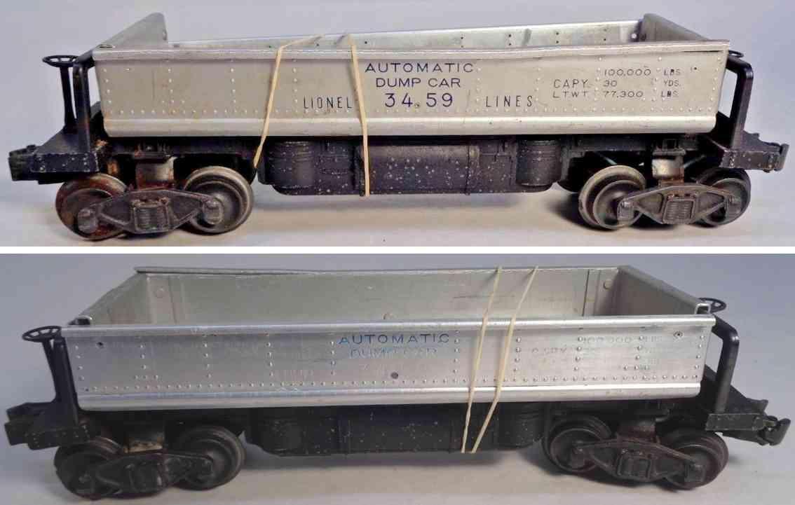 lionel 3459 spielzeug eisenbahn kohleentladewagen silbern spur 0