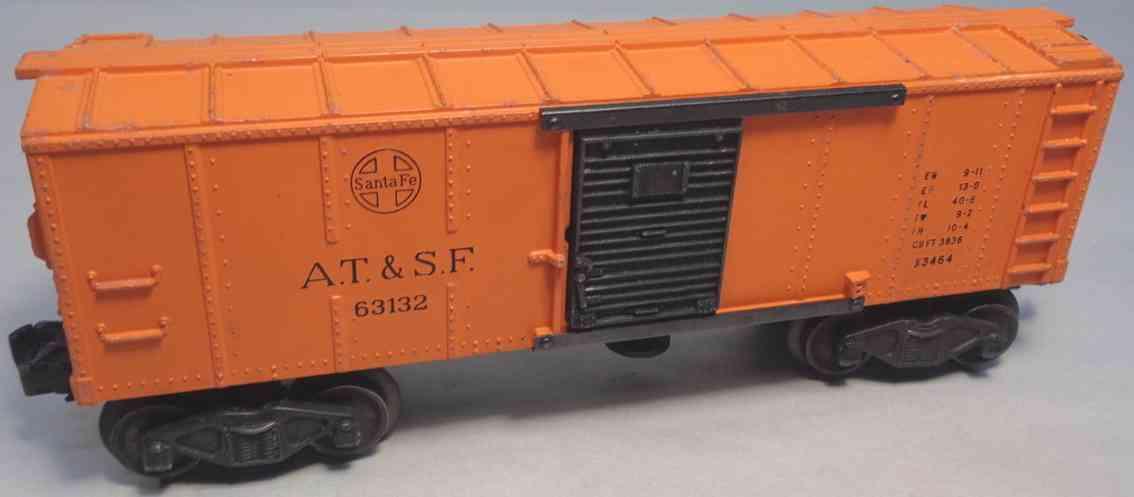 lionel 3464 atsf spielzeug eisenbahn gedeckter gueterwagen orange schwarz spur 0