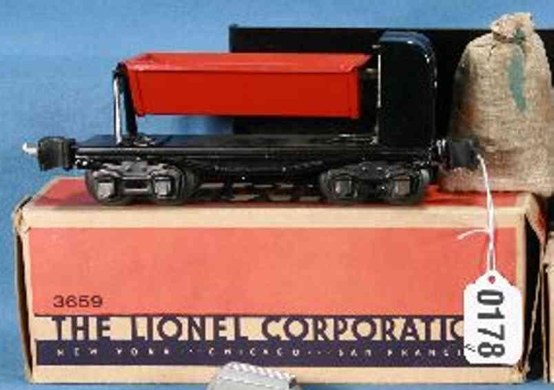 lionel 3659 spielzeug eisenbahn kippwagen rote schwarz spur 0