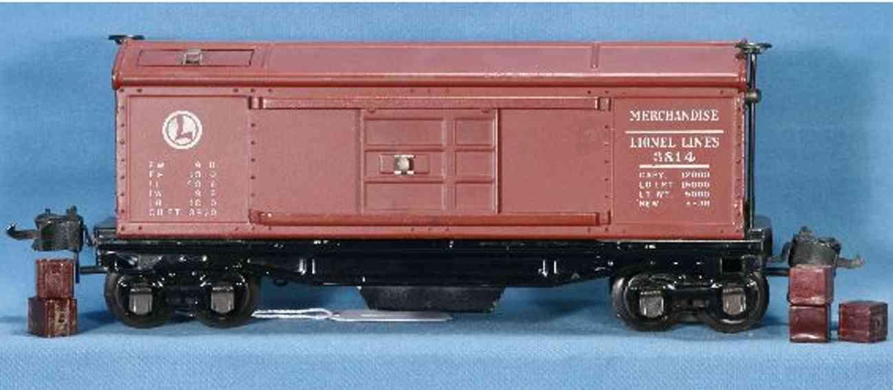 lionel 3814 railway toy box car merchandise car gauge 0