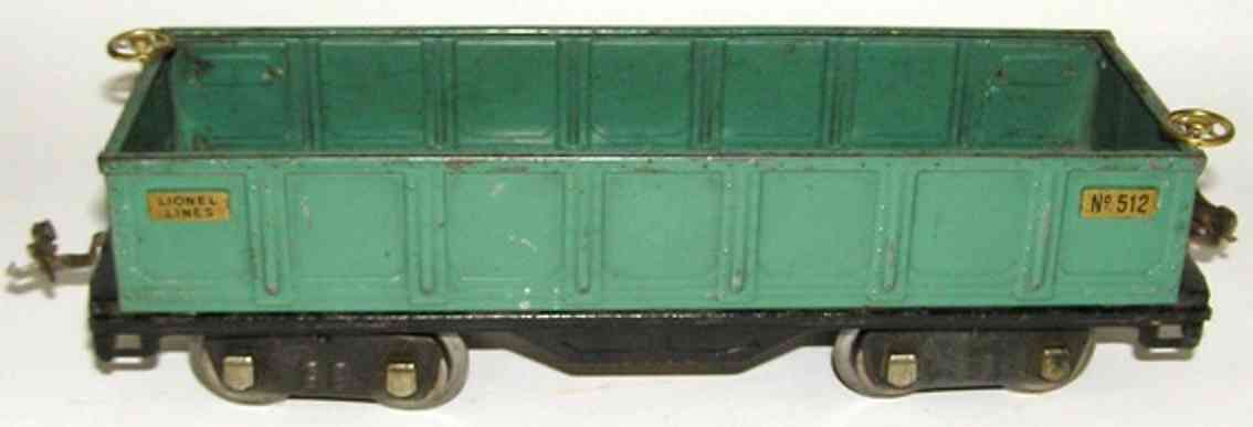 lionel 512.3 spielzeug eisenbahn offener gueterwagen in pfauenblau standard gauge