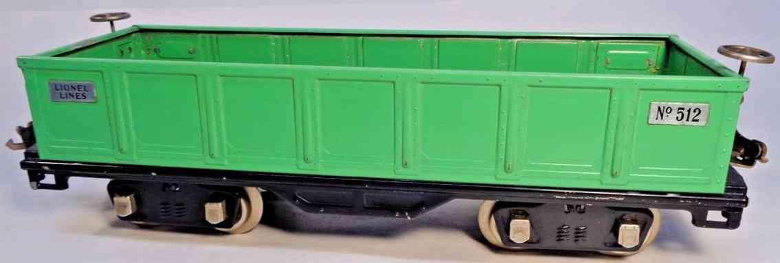 lionel 512 spielzeug eisenbahn offener gueterwagen  gruen standard gauge
