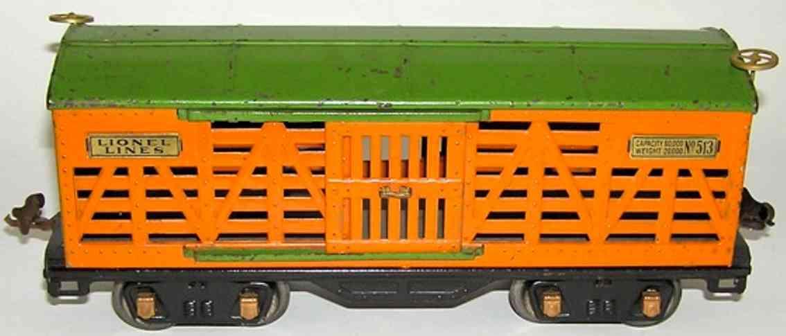 lionel 513 viehwagen orange gruen standard gauge