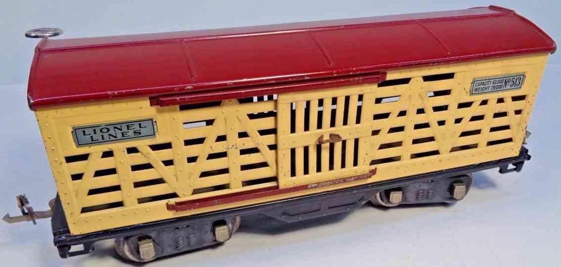 lionel 513 viehwagen creme braun standard gauge