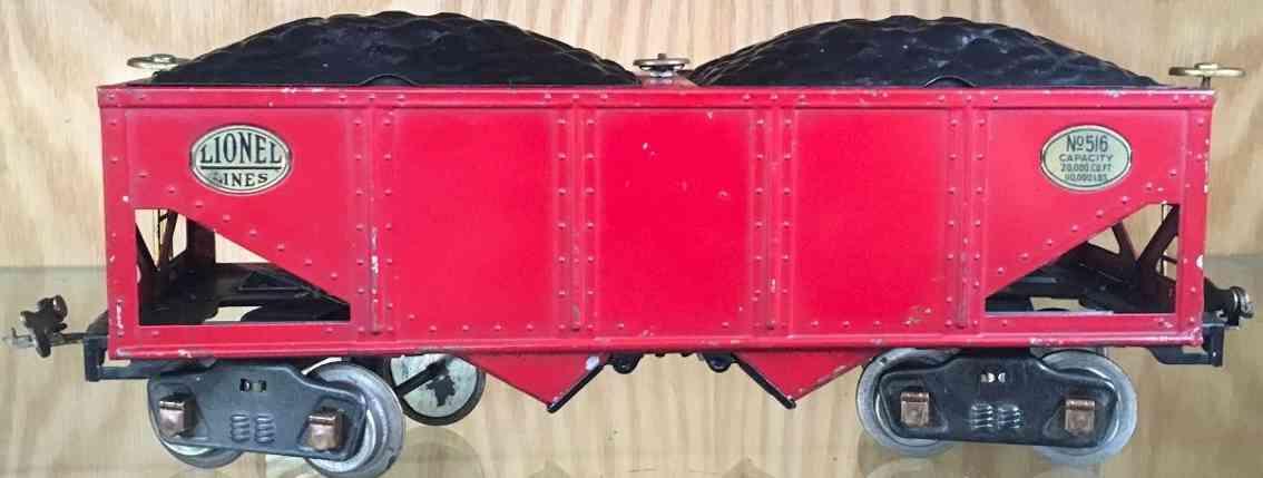 lionel 516 spielzeug eisenbahn kohlewagen schuettgutwagen rot standard gauge