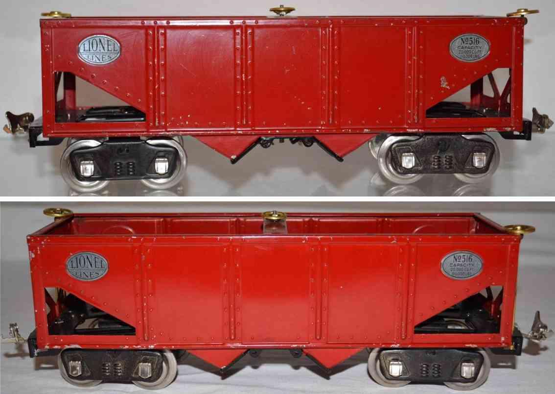 lionel 516 eisenbahn schuettgutwagen rot kohlewagen  standard gauge