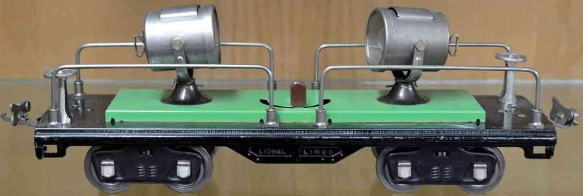 lionel 520 eisenbahn scheinwerferwagen gruen schwarz standard gauge
