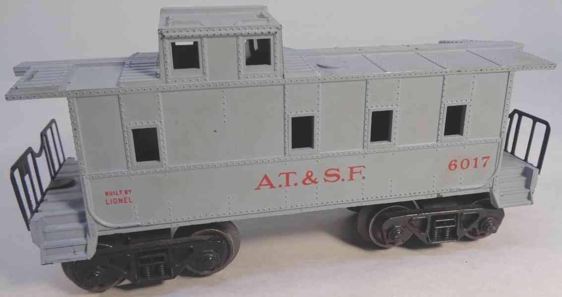lionel 6017-185 spielzeug eisenbahn at & sf caboose gray gauge 0
