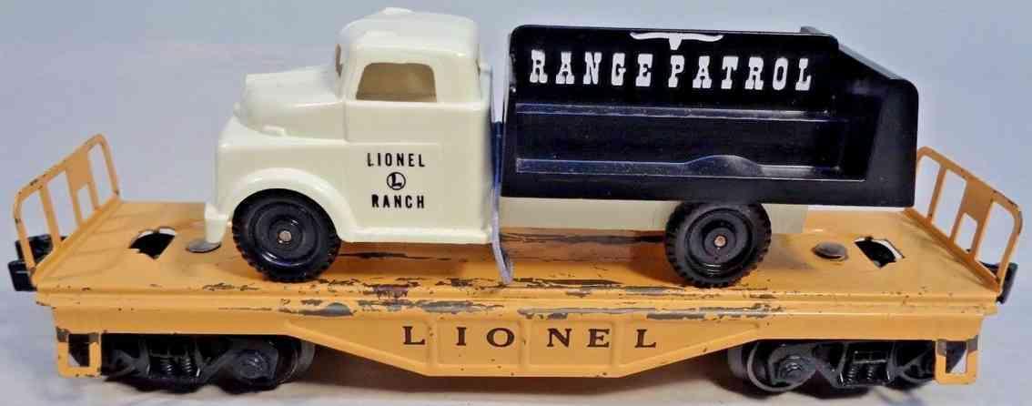 lionel 6151 spielzeug eisenbahn gueterwagen flachwagen range patrol lastwagen spur 0