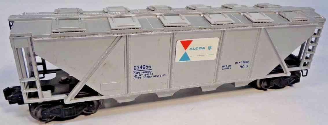 lionel 6346 eisenbahn schuettgutwagen  alcoa aluminum silbern spur 0